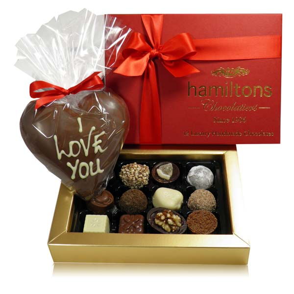Luxury Premium 12 Chocolate Gift Box And Large Milk Chocolate Heart