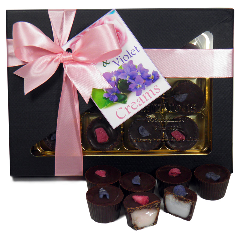 Rose & Violet Creams 12 Chocolate Gift Box