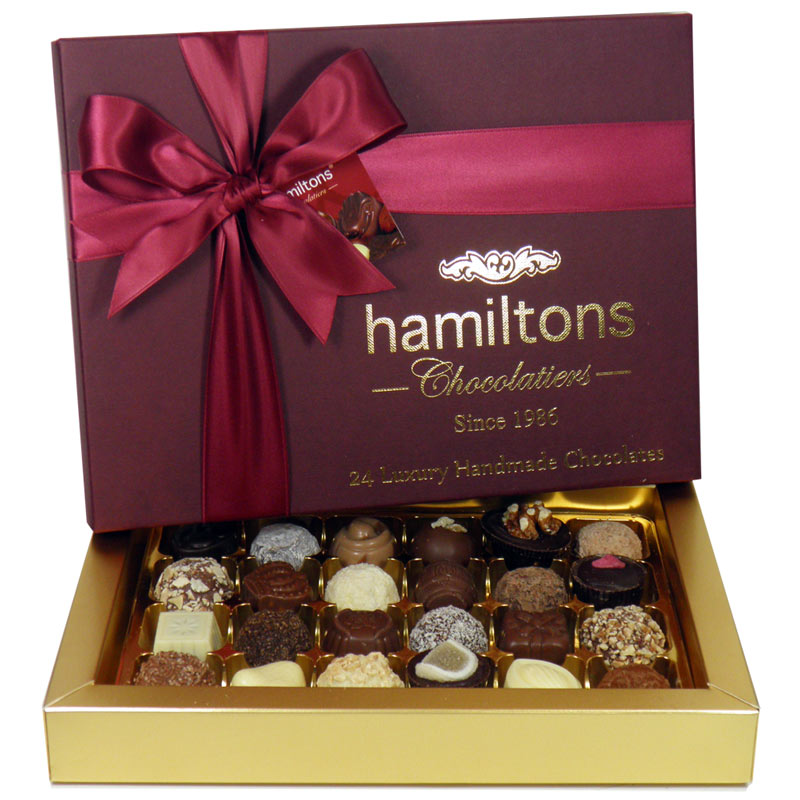 Premium Burgundy Luxury Gift Box Containing 24 Handmade Chocolates