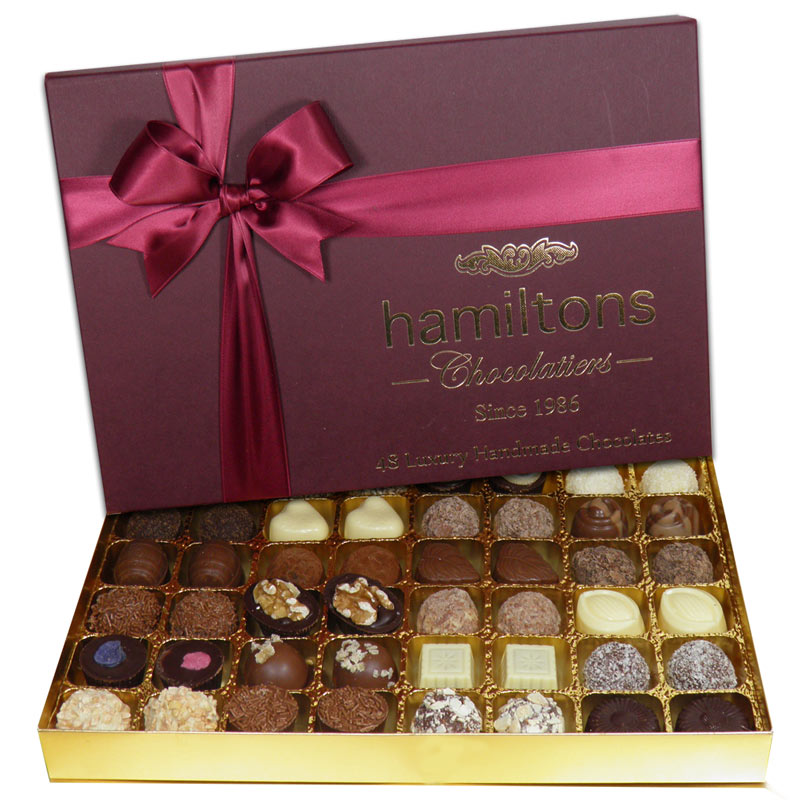 Premium Burgundy Luxury Chocolate Box 48 Handmade Chocolates