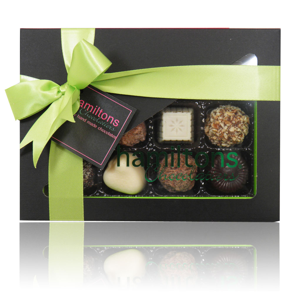 Green And Black Luxury Chocolate Box 12 Handmade Chocolates