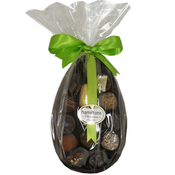 Large Half Dark Easter Egg Filled With Dark Chocolates