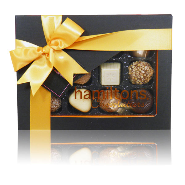 Orange And Black Luxury Chocolate Box 12 Handmade Chocolates