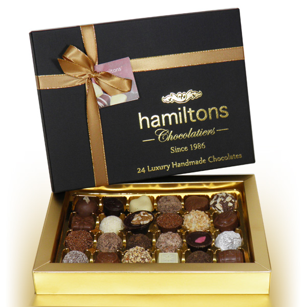 Premium Black Christmas Gift Box Containing 24 Handmade Chocolates