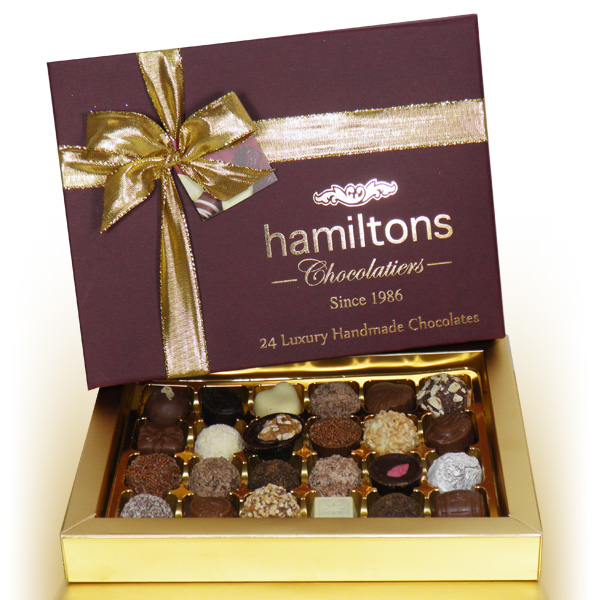 Premium Burgundy Christmas Gift Box Containing 24 Handmade Chocolates