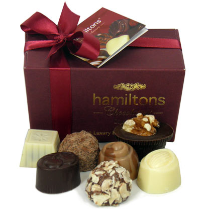 Burgundy Ballotin Containing 12 Handmade Chocolates