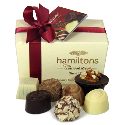 Ivory Belgian Ballotin Gift Box Containing 12 Handmade Chocolates