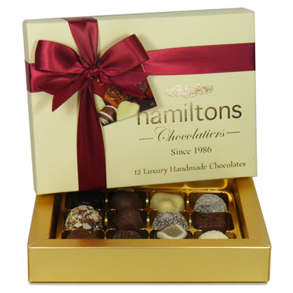 Premium Ivory Luxury Chocolate Box 12 Handmade Chocolates