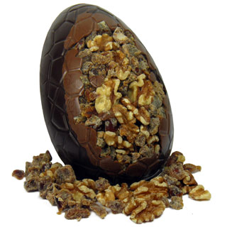 Dark chocolate date and walnut Easter egg