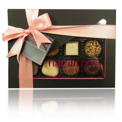 12 Chocolate Pink And Black Gift Box