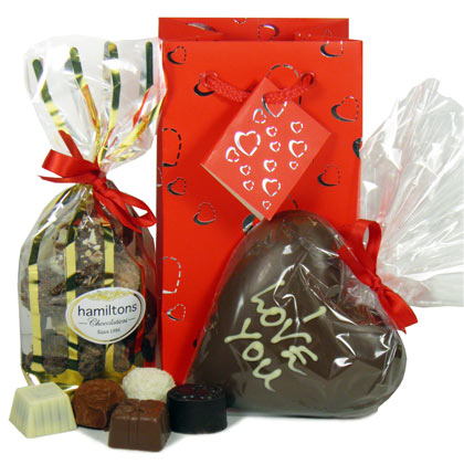 Luxury Chocolate Gift Bag And Large Milk Chocolate Heart