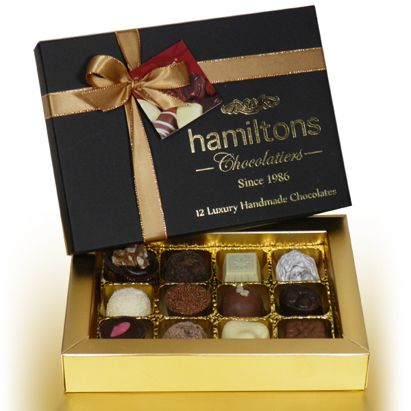Premium Black Christmas Gift Box Containing 12 Handmade Chocolates