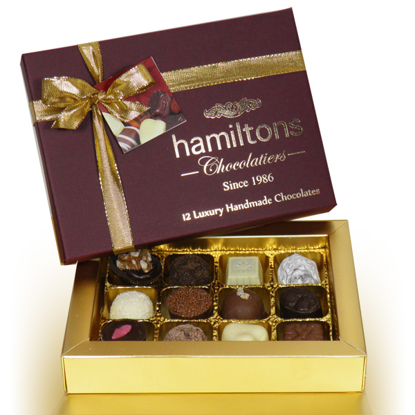 Premium Burgundy Christmas Gift Box Containing 12 Handmade Chocolates